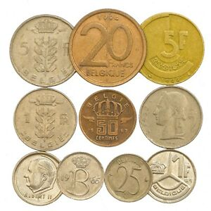 10-BELGIUM-COINS-FRANCS-CENTIMES-BELGIAN-OLD-COLLECTIBLE-COINS-SET