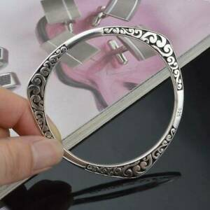 Women-Ladies-Vintage-925-Sterling-Silver-Charm-Bangle-Bracelet-Jewelry-Gifts