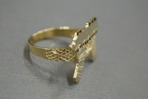 10K Solid Yellow Gold Diamond Cut UZI Machine Gun Ring Size 8.25