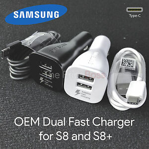 OEM Adaptive Fast Charging Dual Port Car Charger Samsung Galaxy S8 USB Type C