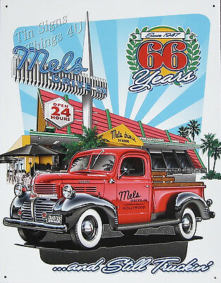 Mel's Drive-In Diner Vintage Antique Truck TIN SIGN 50s metal wall decor 1924