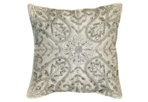 B-B-B-Emma-Crystal-16-Inch-Square-Decorative-Pillow-White-Silver-Embellished