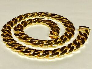 10kt-Solid-Yellow-Gold-Handmade-Curb-Link-Mens-Necklace-32-034-370-Grams-15-5MM