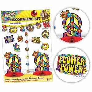 10 Piece Hippy Decorations Party Kit Flower Power Peace Sign Love