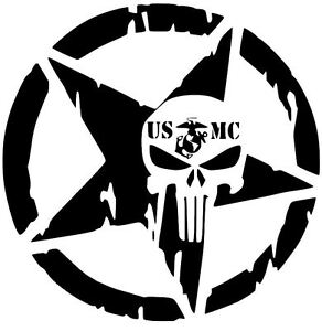 USMC STAR PUNISHER MILITARY MARINE CAR DECAL STICKER VINYL ...