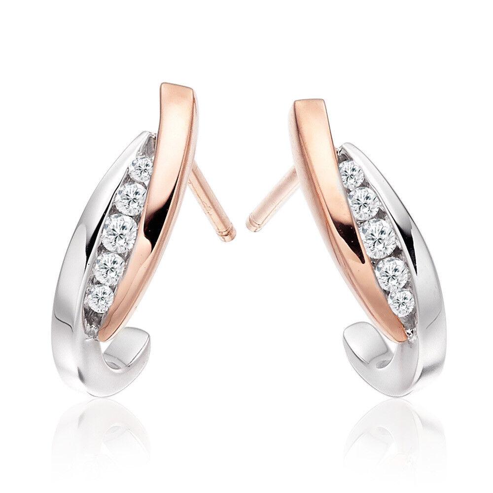 0.40CT NATURAL DIAMOND 14K WHITE pink gold WEDDING ANNIVERSARY STUD EARRING