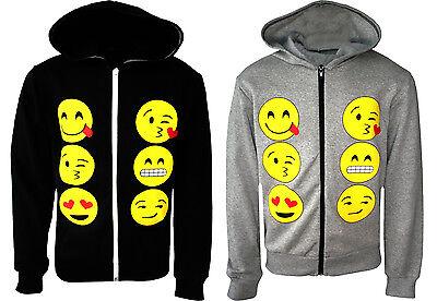 KIDS EMOJI EMOTICONS SMILEY FACES LONG SLEEVE HOODIES TOPS GIRLS AGE NEW 5-13y