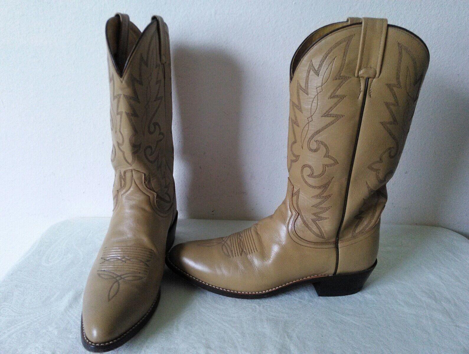 Haute Qualité DAN POST Tout Cuir Marron Clair Homme Bottes Cowboy Style 59936 Taille 9.5 D