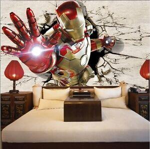 3d iron man avengers wallpaper mural bedroom boys children living