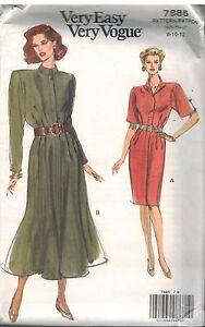 Detalles De 7885 Sin Cortar Vogue Patrón De Costura Misses Vestido Debajo Rodilla Muy Fácil