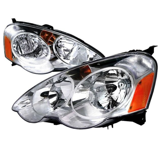 For 02-04 Acura RSX JDM Chrome Headlights W/Amber