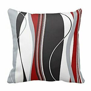 New-Wavy-Vertical-Stripes-Red-Black-White-Grey-Cushion-Cover-Case-18-x-18-inch