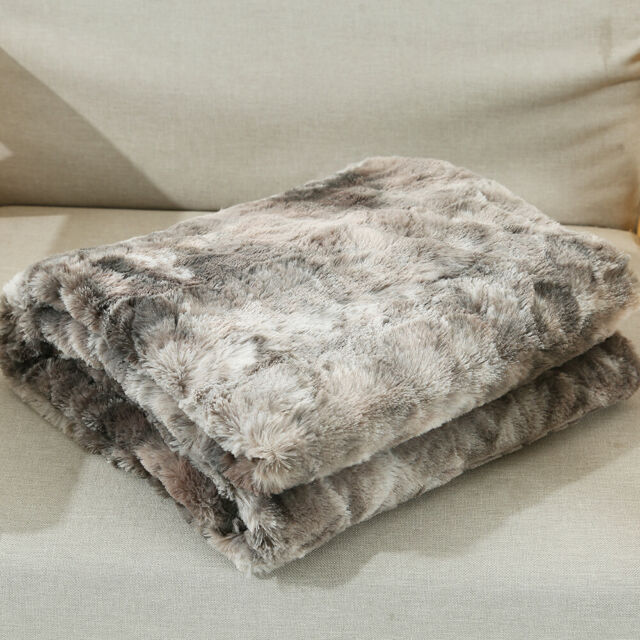 New Silver Double Size 150x200cm Faux Fur Mink Throw Luxury Sofa Blanket Bed