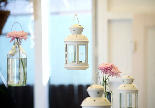 8 x White metal miners tealight candle hanging lantern outdoor BBQ wedding party