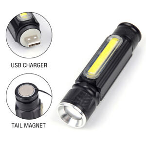 Portable T6 COB LED USB Rechargeable Zoomable Flashlight Torch Lamp Light Y1