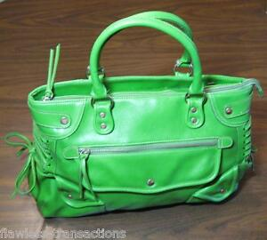 0f2e28b7e2 BARNEYS NEW YORK NY Green Genuine Leather Large Studded Handbag ...