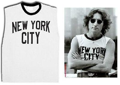 John Lennon NYC New York City Walls and Bridges Pose Cut-Off White T-shirt Tee