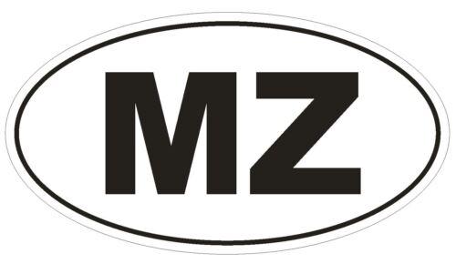 MZ Mozambique Country Code Oval Bumper Sticker or Helmet Sticker D1056