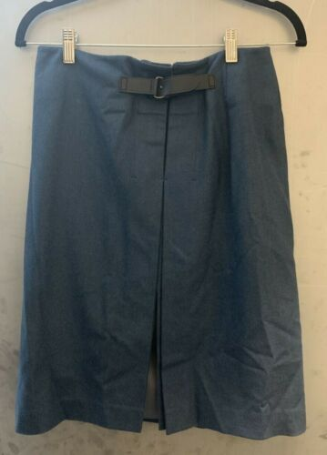 Calvin Klein Wool Blue Skirt Buckle Back Size 4