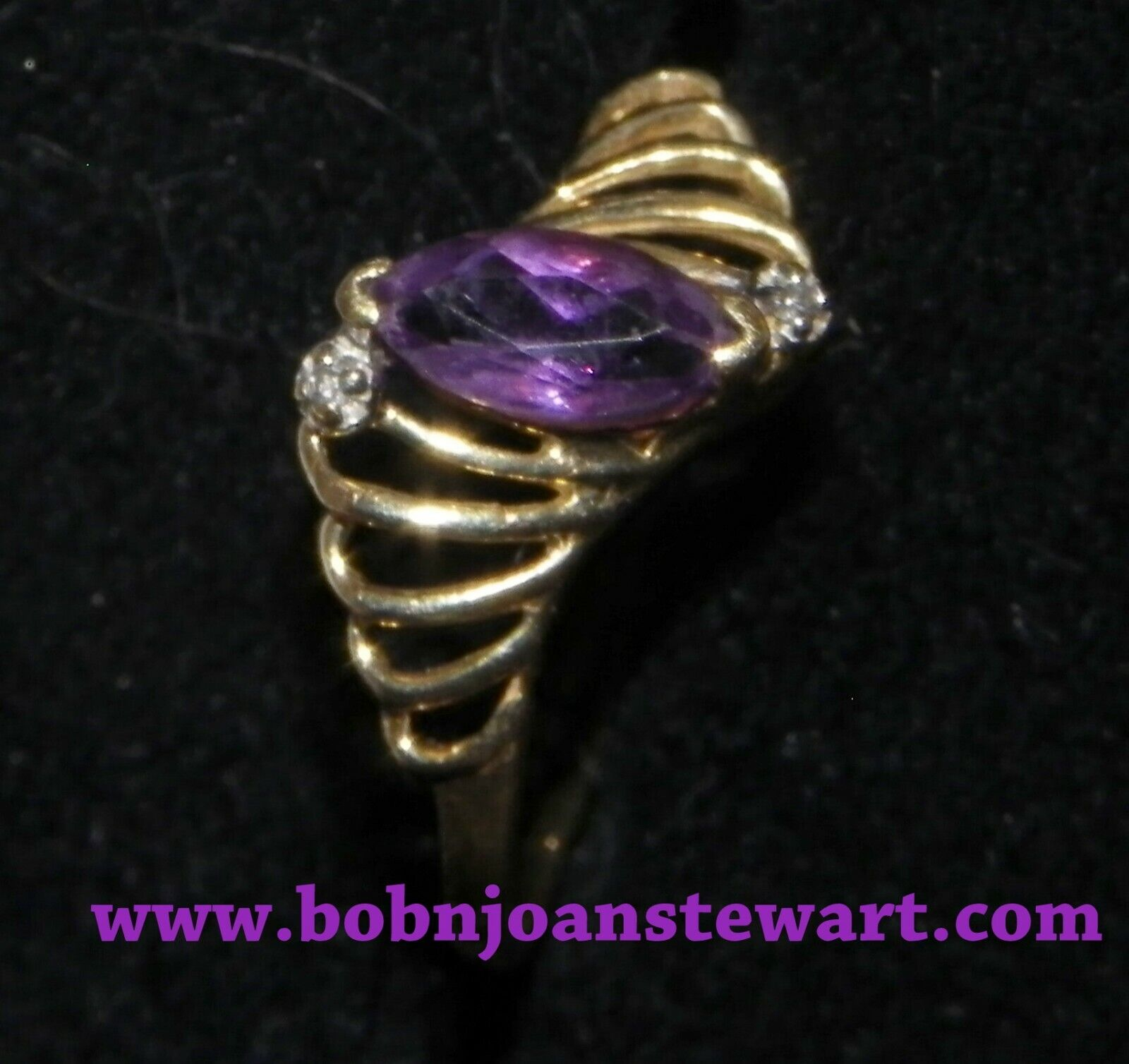 10K gold ring amethyst color stone
