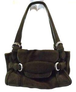 DESMO Satchel Handbag Bag Purse OLIVE GREEN SUEDE Leather Medium ... 7b477cbf76527