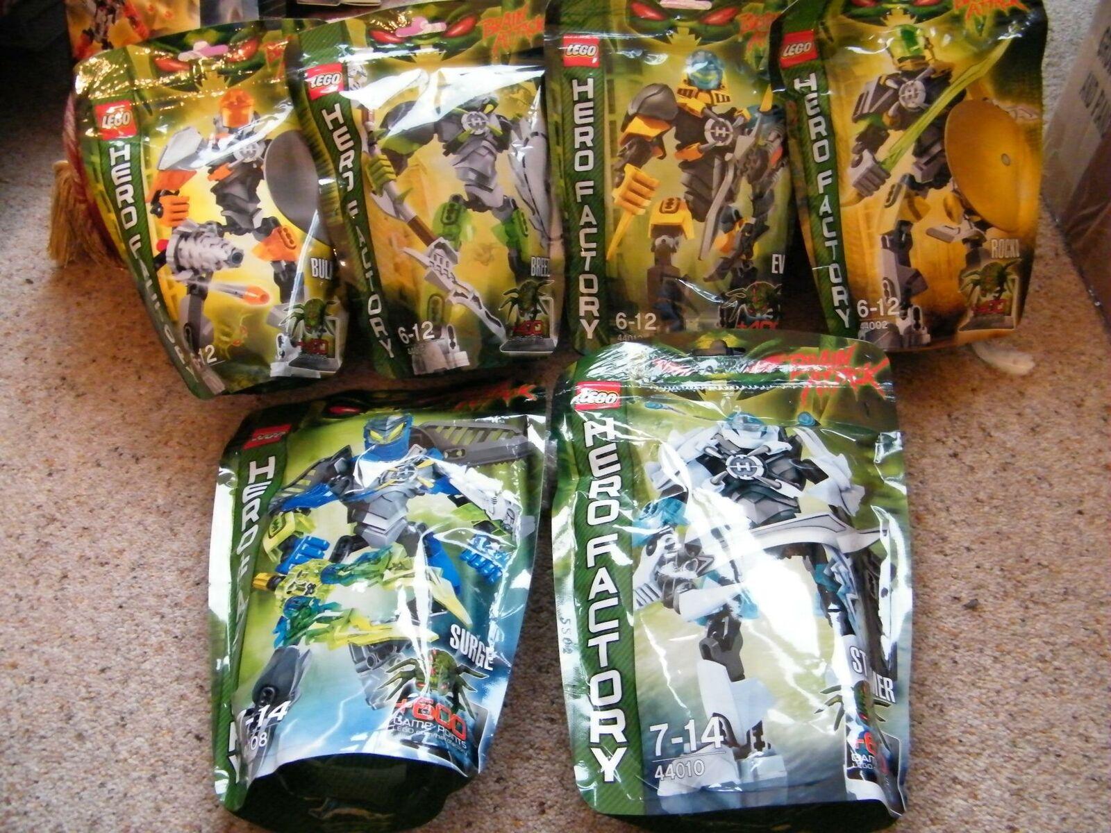 Nuevo Lego Hero Factory Juego de 6 figuras ataque cerebral héroes 44002,04,06,08,10,12