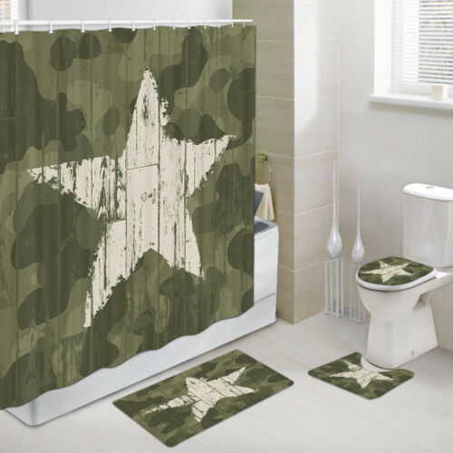 Military Camouflage Stars Shower Curtain Toilet Cover Rug Bath Mat Contour Rug