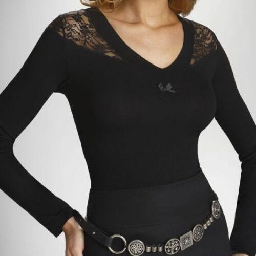 "Long Sleeve Black Womens Lace Top Blouse Casual T-shirt  /""Martika/"""