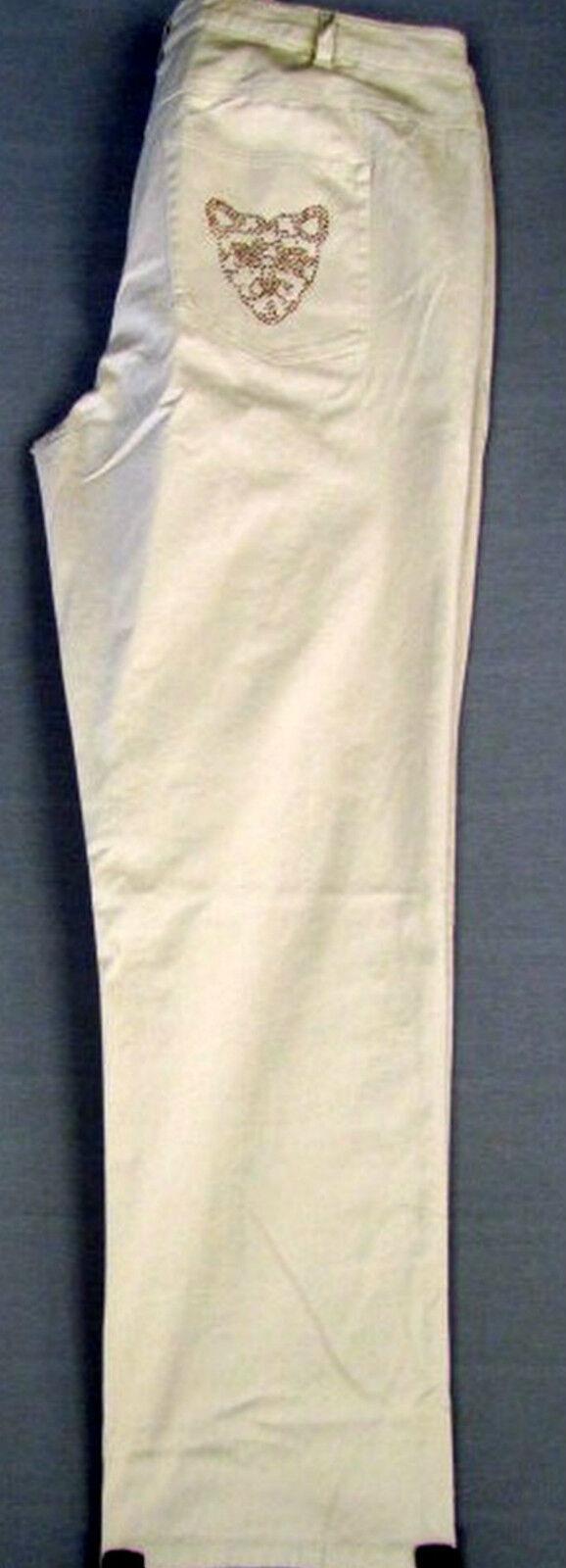 NEU Damen Stretch Stoff Hose crem beige Übergröße Lang Größe 108,112 (54,56)