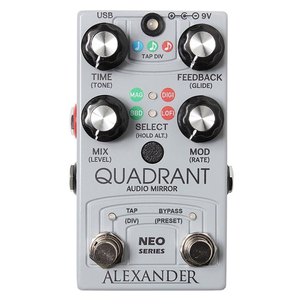 Alexander Quadrant Audio Mirror Delay Guitar Effects Pedal w  MIDI