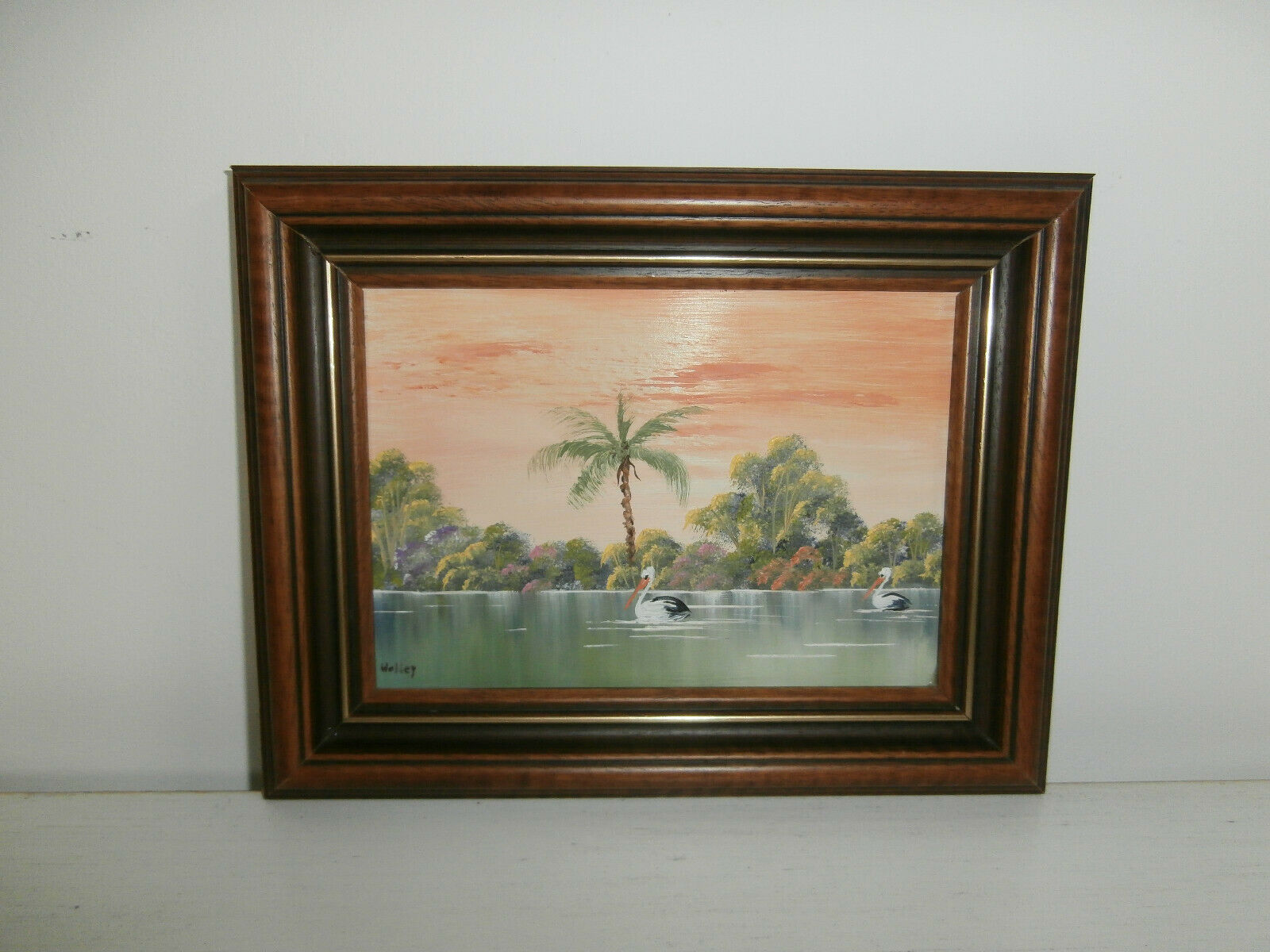 SUNRISE PARADISE SCENE PELICAN BIRDS ON RIVER SMALL OIL PAINTING BY WALLEY RARE