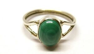 925-Solid-Sterling-Silver-Y-Band-2-2-mm-Ring-with-Real-Malachite-Stone-Size-O
