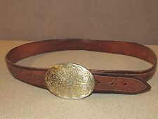 Vintage Cowboy Ranch Rodeo Brass Buckle with Tooled Brown Leather Belt