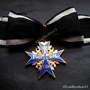 Pour-Le-Merite-24k-Gold-Plated-Cross-Medal-Blue-Max-Highest-Honor-Award-New-Copy