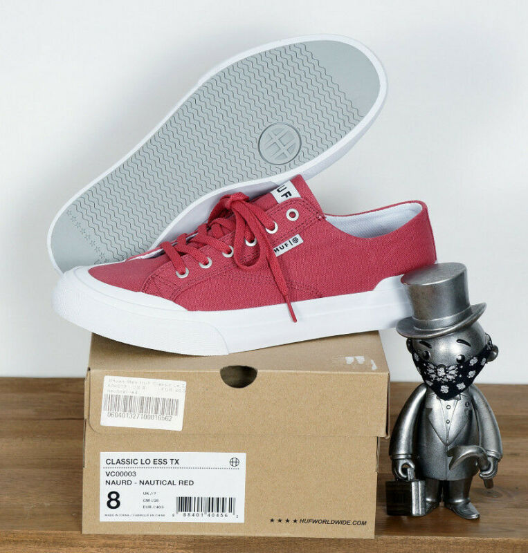 Huf Worldwide Footwear Skate Shoes Shoes Classic Lo Red Nautical Canvas 12/45,5