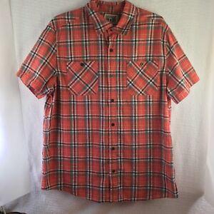 Details about Converse One Star Men's XL Casual Shirt Short Sleeve Salmon Plaid Stripe