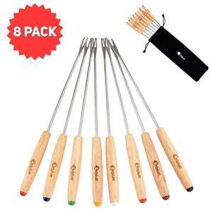 Orblue, forchette da fonduta con manico in legno, 8 pezzi un set, diversi...