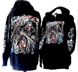 Mens Adults Hoodie Zip Up Sweatshirt Jumper Hood Dragon Gothic Skull Grim Reaper