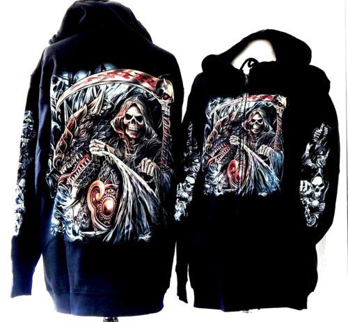 Graphic Langarm Reaper Frontreißverschluss Sweat dragon Grim Hoodie Schwarz Hoods scythe Schwarz Ytqdwnfx0