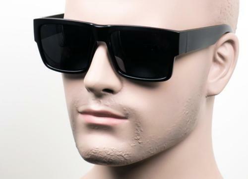 Large Size Shiny Black Frame LOC OG Style Square Sunglass UV400 With Hard Case