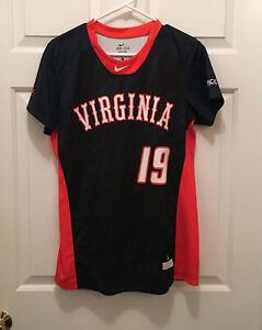 Virginia Cavaliers UVA Women's Softball Game Worn Blue Orange #19 Jersey Large