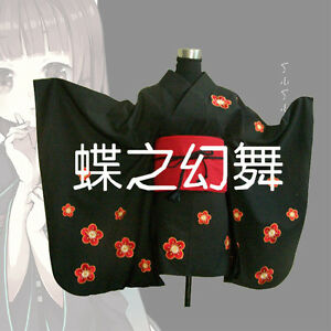 Image is loading Japanese-Women-Short-Black-Furisode-Kimono -Embroidery-Floral- e160a0b6602b