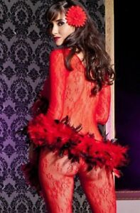 New-Red-Long-Sleeve-Lace-Bodystocking-PANTYHOSE-V-Neck-LEG-AVENUE-8045-Bows-1980