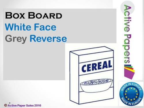 Cereal Box Card White Face Grey or cream Back 250gsm A5 A4 A3 A2 Box Board
