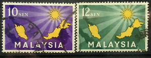 Malaysia Used Stamp - 2 pcs 1963 Inauguration of Federation