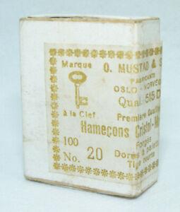 Boite d'anciens Hameçons CHRISTAL-MUSTAD N°20 Dorés à palette Tige courte 515 D