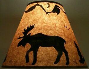 "ELK LAMP SHADE RUSTIC PARCHMENT PAPER 12/"" CLIP ON LODGE LOG CABIN HUNTER DECOR"