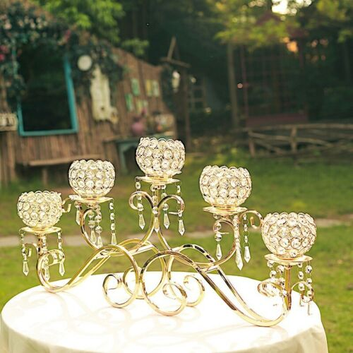 """27/"""" wide Gold Horizontal Candle Holder Crystal Beads Wedding Home Centerpiece"""