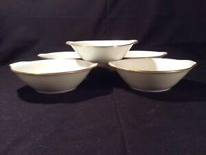 """Lot 5 Noritake """"Gloria"""" White W/ Gold Lug Handle Soup Bowls - Near Mint"""