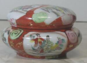 Vtg-Asian-Powder-Jar-Porcelain-box-Dresser-Vanity-Lidded-Dish-Ladies-landscape